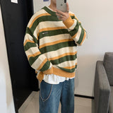 2020 Winter Men's In Warm Coats Casual Cashmere Pullover Stripe Knitting Woolen Sweater V-neck Sleeve Single Man Knit Size M-2XL