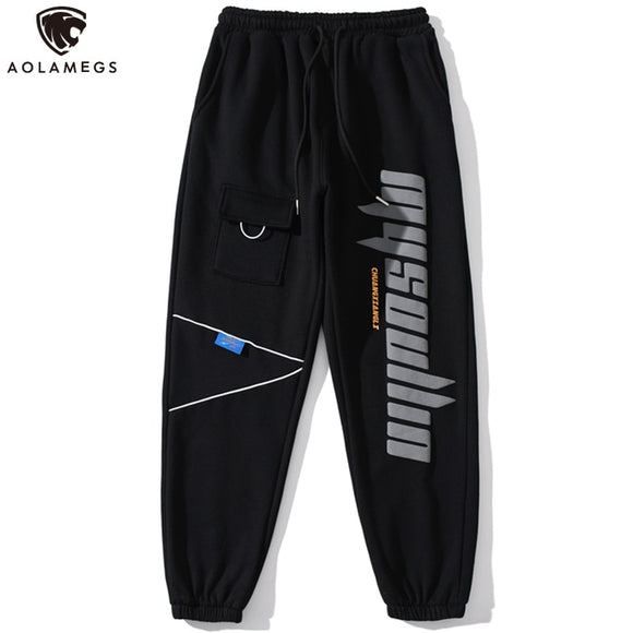 Aolamegs Sweatpants Men Letter Print Solid Pocket Elastic Waist Jogger Pant Soft Cozy Harajuku Fashion Trouser Winter Streetwear