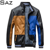 Saz Mens New Casual Motor Leather Jacket Coat Mens Jackets Mens High Quality Jacket