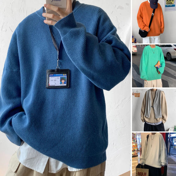 2020 Winter Men's Fashion Solid 15 Color Coats Loose Casual Wool Sweater Round Neck Pullover Male Tide Cashmere Knitting M-3XL