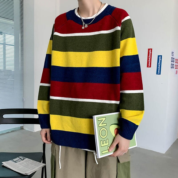 2020 Men's Striped Printing Pullover Long Sleeves Coats Round Neck Woollen Sweater Loose Cashmere Knitting Plus Size M-2XL