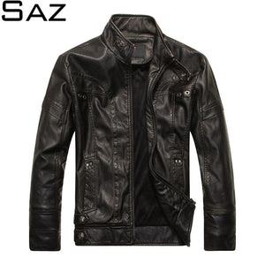 Saz 2020 Mens Jacket Casual Leather Jacket Mens Streetwear Fashion Tops Leather Bomber Jacket