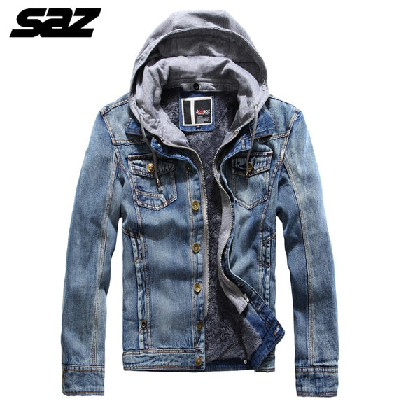 Saz Men Winter Jean Jackets Hooded Outerwear Warm Denim Coats New Men Large Size Thicker Denim Jackets Hooded Removable