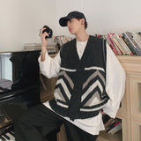 Men's Loose Cashmere Sweater Handsome Cardigan Sleeveless Loose Coat Woolen Sweaters Vest Casual In Warm Male Knitting M-2XL