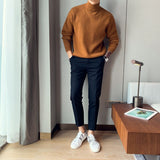Men's Casual Loose Mid-collar Thick-line Long Sleeve Wool Sweater Coats Solid Color Turtleneck Homme Pullover Cashmere Knitting