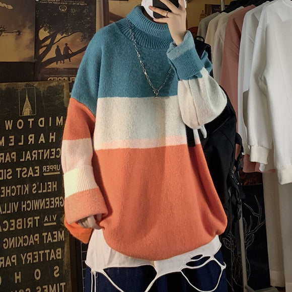 2020 Winter Men's Stripe Printing Wool Turtleneck Youth Pullover Homme Clothes Coats Keep Warm Knitting Cashmere Sweaters M-3XL
