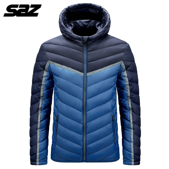 Saz 2020 New Fashion Ultralight Down Jacket Mens Men's Streetwear Feather Coats Hooded Packable Warm Men Clothing