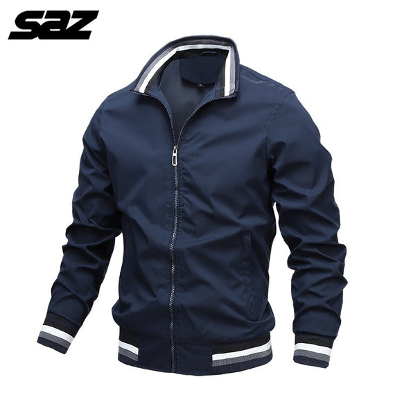 Saz 2020 Mens Spring Autumn Jackets Casual Thin Male Windbreakers College Bomber Black Windcheater Hommes Varsity Jacket