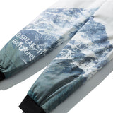 Aolamegs Down Pants Men Letter Snow Mountain Printed Men's Winter Pants Thick Warm Windproof Outdoor Harajuku Snowboard Trousers