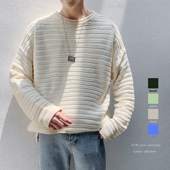 2019 Winter Men's Four Color Stripe Printing Coats In Warm Cashmere Pullover Woolen Sweater Brand Casual Knitting Size M-2XL