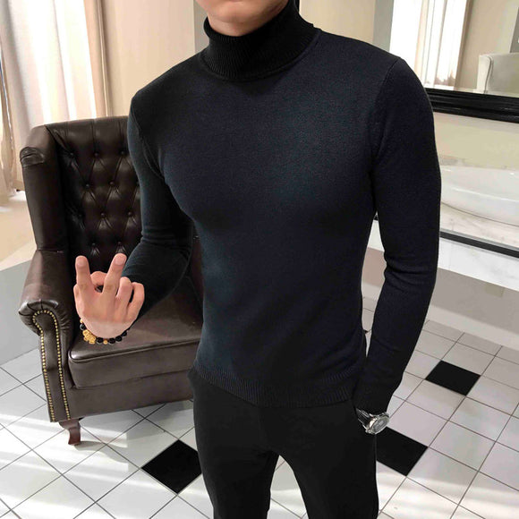 2020 Winter Men's Slim Fit Pullover Solid Color Knitted Bottoming Wool Sweater Male 7-color Cashmere Turtleneck Clothes Coats