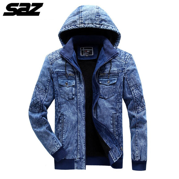 Saz Fashion Hooded Jeans Jacket Men Streetwear Outerwear Coat Korean Style Clothing Male High Quality Denim Tops Bomber Jacket