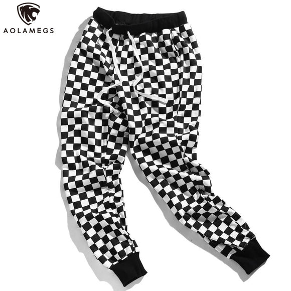 Aolamegs Pants Men Plaid Checkerboard Pants Fleece Thick Trousers Pants Mens Tactical Elastic Waist Fashion Joggers Sweatpants