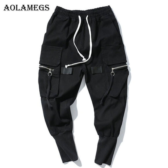 Aolamegs Cargo Pants Men Multi-Pockets Track Pants Male Zipper Trousers Elastic Waist Hip Hop Joggers Sweatpants Streetwear