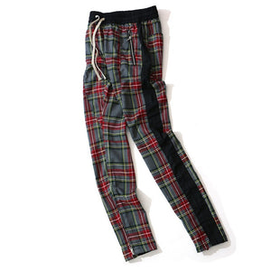 Aolamegs Harem Pants Scottish Plaid Side Zipper Track Joggers Straight Pants Mens Hip Hop Hit Color Block Patchwork Streetwear
