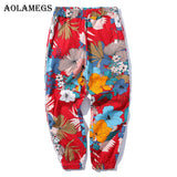 Aolamegs Pants Men Floral Printed Pants Track Pants Straight Elastic Waist Fashion High Steet Joggers Sweatpants 2020 Streetwear