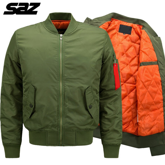 Saz winter Military tactical Male Army Flight Bomber Jacket Baseball Varsity College Pilot Air Force Thick Warm Coat For Men