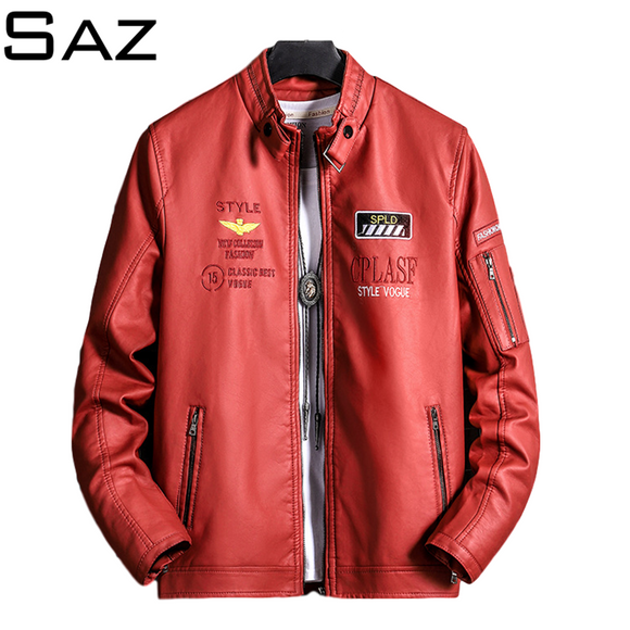 Saz Mens Leather Coat Autumn Winter Pilot Bomber Leather Jacket Mens Casual Motorcycle Male Coat Jacket