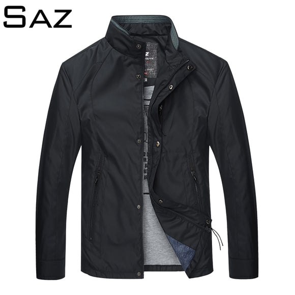 Saz Slim Fit Solid Mens Bomber Jacket  Autumn Male Baseball Thin Jackets Brand Casual Coat Top Men's windbreaker Jacket