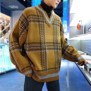 2020 Winter Men's Loose Fake Two Piece Sweaters High Lapel Turtleneck Thickened Coats Long Sleeve Knitting Casual Wool Pullover