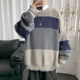 2020 Winter Men's Stripe Printing Coats Loose Wool Sweaters Round Neck Pullover 2-color Clothes In Warm Cashmere Knitting M-2XL