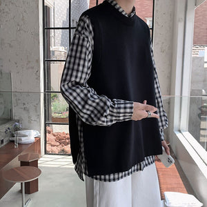 2020 Men's Fashion Knitted Sleeveless Pullover Sweater Vest Clothing Coats Sweaters Wool Fleece 3 Color Knitting Clothes M-3XL