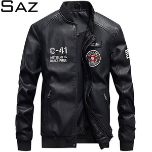 Saz New Men Jacket Casual Letter Embroidery Leather Jacket Streetwear Fashion Tops Patchwork Leather Bomber Jacket  Coat For Men