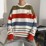 2020 Men's Striped Printing Wool Sweater Loose Colorful Coats Youth In Warm Pullovers Round Neck Clothes Cashmere Knitting M-XL