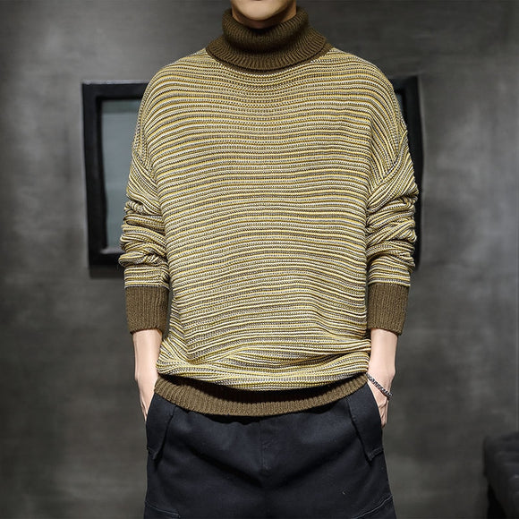 Winter Men's High Neck Pullover Striped Printing Wool Sweater Knitwear Casual Tide Coats 2-color Clothes Cashmere Turtleneck