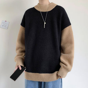 2020 Men's Loose Trendy Knitted Long Sleeve Cashmere Sweater White/black/blue Coats Wool Pullover Homme Knitting Plus Size M-2XL