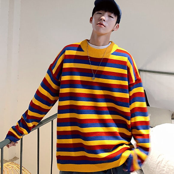 2019 Winter Men's Multicolor Stripe Printing Pullover Long Sleeves Coats In Warm Cashmere Casual Male Knitting Woolen Sweaters