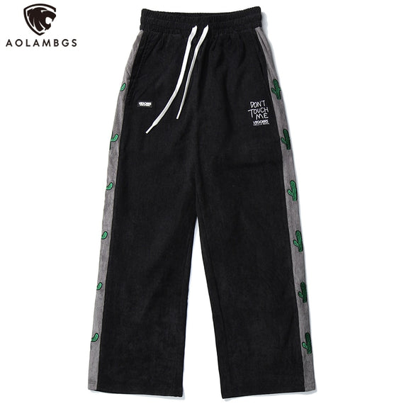 Aolamegs Sweatpants Men Side Stripe Plant Embroidery Joggers Trousers Pants Elastic Waist Straight Baggy Cozy Fashion Streetwear