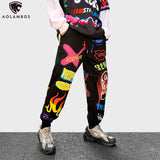 Aolamegs Hit Color Funny Cartoon Print Joggers Sweatpant Men Hip Hop Style Pants Autumn High Street Fashion Trousers Streetwear