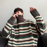 2020 Men's New Clothes Strips Printing Leisure Coats Woolen Knitting Loose Turtleneck High-quality In Warm Cashmere Sweater M-XL