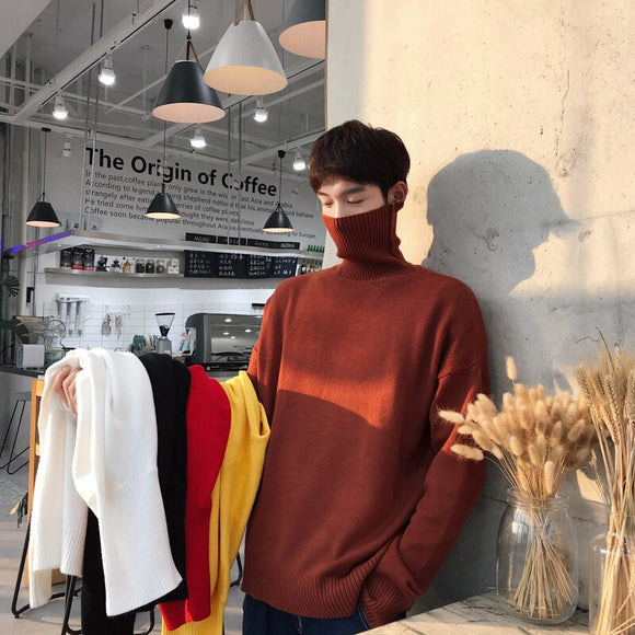 2019 Winter Men's Solid Color Knitting In Warm Cashmere Pullover Woolen Sweaters Casual Coats Brand Male Slim Fit Turtleneck