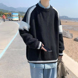 2020 Men's Stripe Printing Wool Knitting Casual Splicing Pullovers Loose Cashmere Sweaters Fashion Black Color Coats Size M-2XL