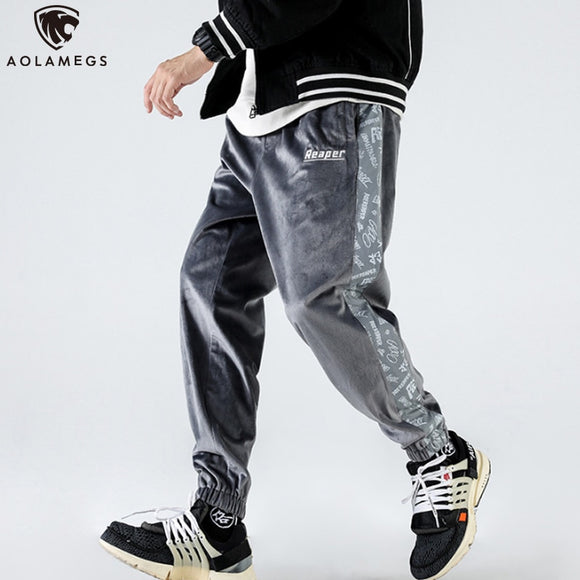 Aolamegs Sweatpants Side Cute Skull Letter Print Casual Velour Joggers Pencil Pants Hip Hop Cozy Sport Track Trousers Streetwear