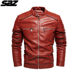 Saz Men New Motorcycle Casusal Vintage Leather Jacket Coat Men Outfit Fashion Biker Pocket Design PU Leather Jacket Men