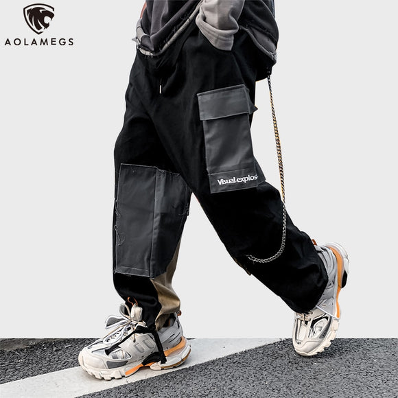 Aolamegs Sweatpants Men Color Block Patchwork Cargo Pants  Spring Punk High Street Style Jogger Trousers Harajuku Streetwear men