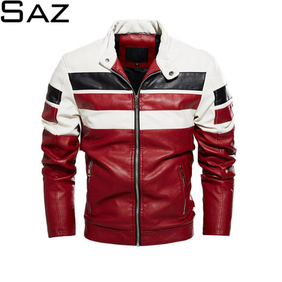 Saz Mens Jacket Stripe Colorblock Bomber Jacket Street Wear Autumn Winter Coats Men Leather Fur Jacket Motorcycle Slim Fit Coat
