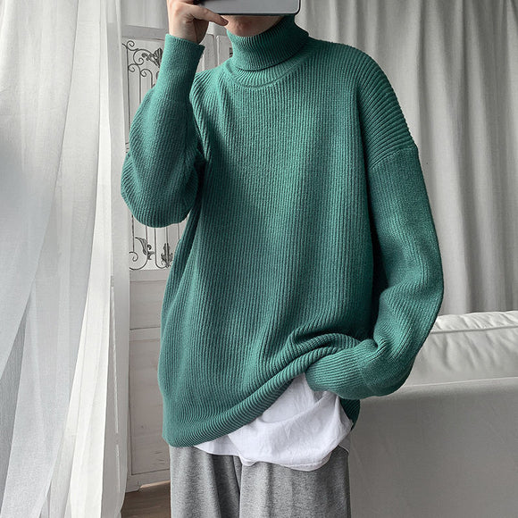2020 Winter Men's Thickened Sweaters Fashion Solid Color Coats Clothes Wool Turtleneck Homme Knitting Cashmere Pullover M-3XL