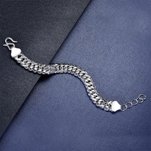 Men's Silver Bracelet Heavy 990 Pure Silver Cuban Link Chain Adjustable XFB8099