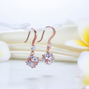 Solid 925 Sterling Silver Earrings Rose Gold Plated Created Diamonds XFE8162
