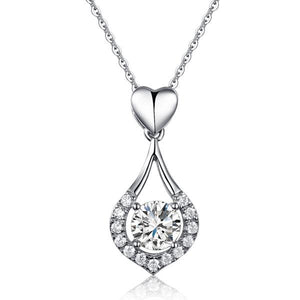 Heart Tear Drop Pendant Necklace 925 Sterling Silver Jewelry Created Diamond XFN8059
