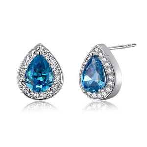 1 Carat Pear Cut Created Blue Topaz 925 Sterling Silver Stud Earrings XFE8033