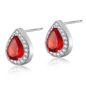 1 Carat Pear Cut Red Created Ruby 925 Sterling Silver Stud Earrings XFE8034