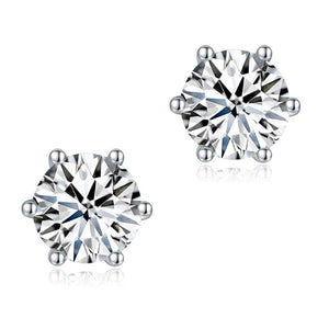 1 Carat Moissanite Diamond 6 Claws Stud Earrings 925 Sterling Silver MFE8185