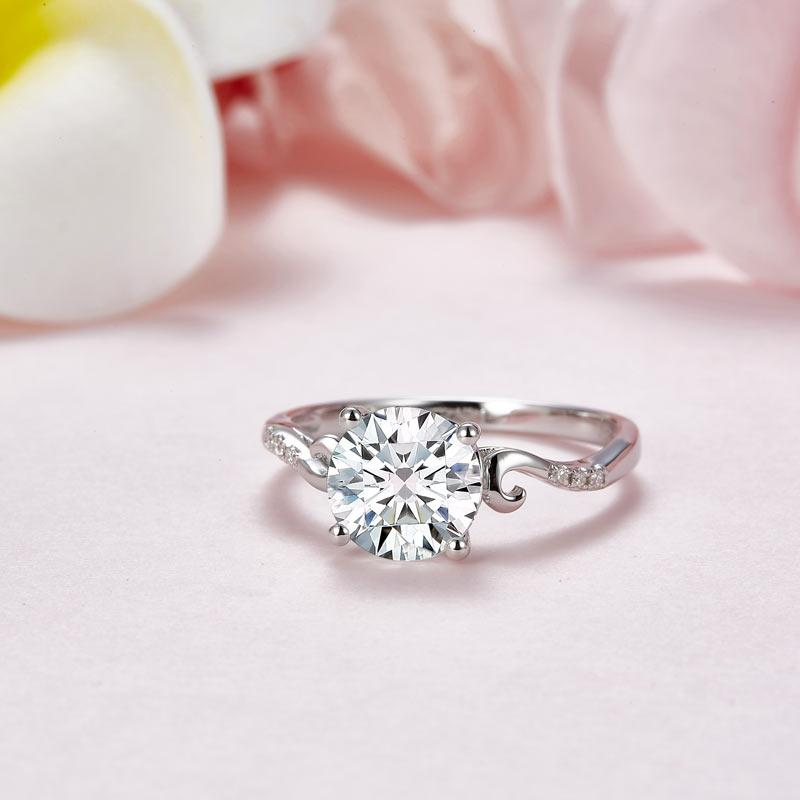 2 Carat Moissanite Diamond (8 mm) Wedding Engagement Ring 925 Sterling Silver MFR8346