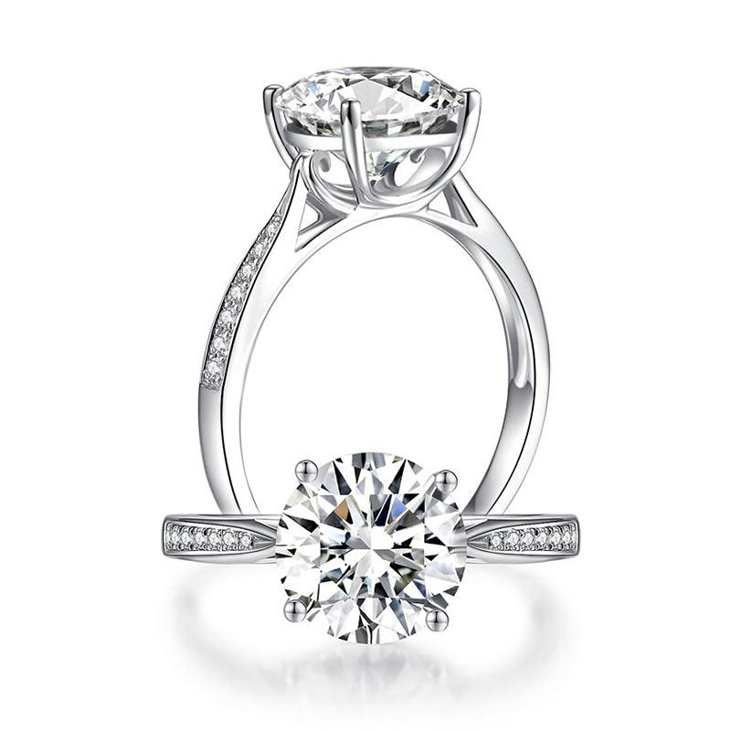 2.5 Carat Moissanite Diamond (9 mm) Luxury Ring Engagement 925 Sterling Silver MFR8348