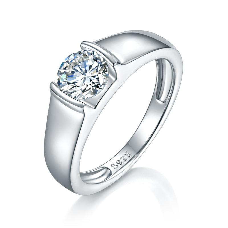 Men's Ring Moissanite Diamond 1 Carat Engagement 925 Sterling Silver MFR8353